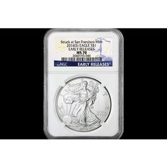 Shop 2014-(S) $1Silver Eagle Blue Label ER MS70/NGC and other jewelry, art, coins, rugs and real estate at www.aantv.com