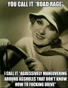 """You call it """"road rage"""". I call it, """"Aggressively maneuvering around assholes that don't know how to fucking drive!"""""""