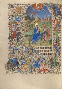 The Flight into Egypt, Spitz Master. French, Paris, about 1420. Tempera colors and gold leaf on parchment
