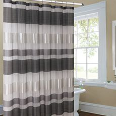 Metallic Striped Silver Fabric Shower Curtain  Bed Bath Beyond for living room curtains Real Simple Bouquet 72 x
