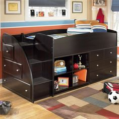 Signature Design Ashley Embrace Twin Loft Bed With Left Storage intended for Youth Bedroom Furniture With Storage Loft Bunk Beds, Bunk Beds With Stairs, Kids Bunk Beds, Bookcase Bed, Bed Shelves, Bookcases, Bookcase Storage, Stair Storage, Boys Bedroom Sets