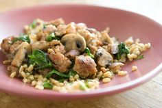 farro and herb pilaf with sausage, mushrooms and spinach. (update: jeremy never ate any, but I liked it. faro is like a milder barley.)