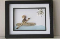 Kayak Artwork - Beach Glass Driftwood Art - Nautical Themed Artwork - Pebble Art - Kayak Stone Art - Ocean Themed Art by sourisbytheseaglass on Etsy https://www.etsy.com/listing/236526506/kayak-artwork-beach-glass-driftwood-art