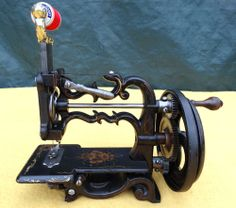 Can't imagine sewing on such a little machine - but would love to have one for my collection! Antique Raymond Weir Civil War Era Small Cast Iron Hand Crank Sewing Machine | eBay