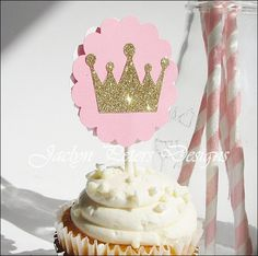 #CupcakeToppers, #Pink And #Gold, #Princess Theme, Glitter Crown, Girls Baby Shower, First #Birthday, Party Decorations, Dessert Bar, Set Of 12 by #JaclynPetersDesigns on Etsy