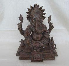 Vintage Look Brass Bronze Hindu Tribal Elephant God Ganesh Statue Figure 1257