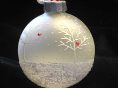 Hand Painted Frosted Glass Christmas Ball Ornament - Cardinal Snow Scene with White Wintry Trees, Great Gift. $11.00, via Etsy.