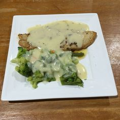 Ryan's Barramundi and vegetables with cheese sauce