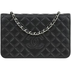 Pre-owned Chanel Black Caviar Diamond CC WOC Wallet On Chain ($2,295) ❤ liked on Polyvore featuring bags, handbags, crossbody handbag, chanel pouch, chain handbags, chanel and crossbody pouch