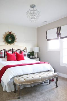 Christmas Guest Bedroom with white bedding, and plaid and red velvet pillows - Life On Virginia Street Guest Bedroom Decor, Guest Bedrooms, Home Bedroom, Guest Room, Decor Room, Bedroom Wall, Bedroom Ideas, Wall Decor, Christmas Bedroom