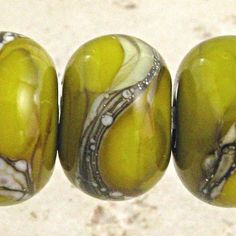 Olive Green - Glass Lampwork Bead Set 6 11mm Silvered Ivory