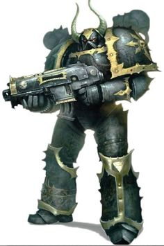 A standard Chaos Space Marine of the Black Legion in corrupted Power Armour, with examples of Black Legion iconography.