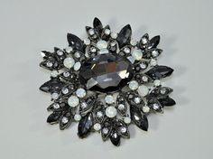 1 Pc Vintage Style Black Crystal Brooch good for by TheBrightShop