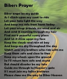 Biker's Prayer ~ Need to make this into a Father's Day present!