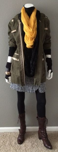 Daily Look: CAbi Spring '15 Reversible Wrap Skirt with our Anorak Jacket, vintage turtleneck, Infinity Scarf, and a mustard scarf from Target.