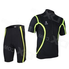 Arsuxeo 130019 Mens Breathable Quick-Dry Short Cycling Jersey Top + Pants Set - Black (L)