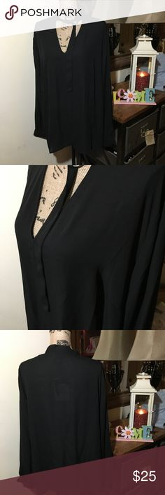 🎉Host Pick🎉Who What Wear Black Blouse NWT Who What Wear Black Long Sleeve Blouse NWT; this is a semi-sheer top that has a v-neck in the front; it is NWT; size 2X Who What Wear Tops Blouses