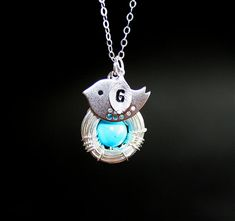 Bird and Nest Necklace One Custom Initial Great by smilesophie, $21.00