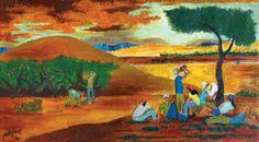 Yochanan Simon - Figures in the Kibbutz (1942), Oil on canvas, 21.5X39.5 cm.