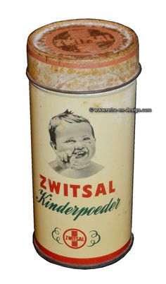Vintage tin Zwitsal kinderpoeder Cylindrical white tin with red and green details. It's an opened tin with straw holes for Zwitsal children's powder with the image of a smiling baby. For the collector, a great eye-catcher.  http://www.retro-en-design.co.uk/a-48216264/tins/vintage-tin-zwitsal-kinderpoeder/