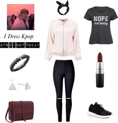 """Outfit inspired by BTS V - Not Today More Outfit on I Dress Kpop Get The Look : • Bandana • Bomber Jacket • Jeans • """"Nope Not Today"""" Shirt • Lipstick """"Power Driven"""" • Adidas Sneakers • Messenger Bag • Triangle Earrings • Bracelet Set"""