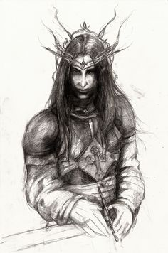 Feanor by ~shavra on deviantart looking very fey, note silmaril emblem on chest