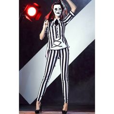 Black White Stripe Print Horror Vampire Costume ($36) ❤ liked on Polyvore featuring costumes, vampire halloween costume, vampire costumes, vampiress costume, horror halloween costumes and black and white costume