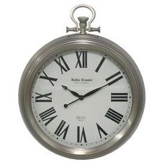 Bring a touch of vintage-inspired style to your decor with this charming metal wall clock, showcasing a Roman numeral dial and sleek silver finish.  Product: Wall clockConstruction Material: MetalColor: SilverFeatures: Roman numeral dialAccommodates: Batteries - not includedDimensions: 18.25x2.5x16.25