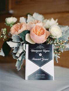 Rustic Missouri Wedding featured on Ruffled by Mint Space Design mintspacedesign.us/  #peach flowers #peony #garden rose #white #anemone #lambs ear #invitation #art #deco #vintage #black #gold