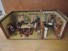 Dachbodenfund Puppenstube Gründerzeit 1890 komplett, Zinn, Porzellanpuppen Möbe