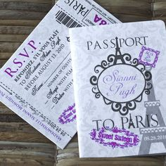 Deposit - Passport Invitation or Save the Date (Sianni's Sweet Sixteen Paris-Themed Design). $50.00, via Etsy.