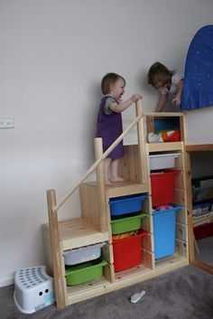 3fa8700b00c BUNK BED STEPS A RAD way to make a high bed safe for a young kid. Storage,  safe stairs and a treehouse feel all in one!