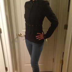 Gucci Military Style Studded Jacket Brand New Size 4 - $421 Military Style, Military Fashion, Studded Jacket, Jacket Brands, Black Jeans, Gucci, Brand New, Pants, How To Wear