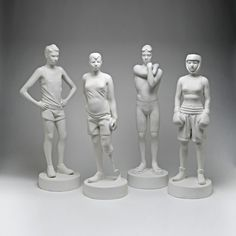 Kenny Hunter: Young Olympians. The concentrated gaze of the athletes signifies that moment of mental preparation which immediately precedes action. The pose is self-conscious and evokes the awkwardness and vulnerability but also the raw intensity and strength of conviction of youth. Beyond the world of athletics, with its inherent political and ethical conflicts, we can discern from the athletes' faces the journey from innocence to experience.