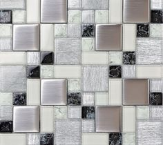 stainless steel and crystal glass blend mosaic wall tiles