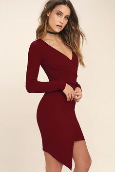 Lulus Exclusive! You'll adore every single thing about the Love Me Completely Dark Red Long Sleeve Bodycon Dress! Stretch knit fabric swoops across a darted, surplice bodice (with long sleeves), into a wrapping silhouette. Bodycon envelope skirt. Hidden back zipper.