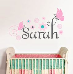 Personalized Name With Butterflies Sarah, Custom nursery vinyl wall decals stickers, nursery, kids & teens room, removable decals stickers