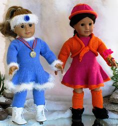 """Looking for fun to knit doll clothes patterns? This doll knitting pattern fits any 18"""" dolls like American Girl dolls and is for Advanced Knitters. The pattern includes easy to follow written instructions for the two dresses, leggings, shrug, headband and hat and uses Loops & Threads Woolike yarn and needles nbr 3. Gauge: 6 1/2 sts = 1"""" (2.5 cm). A perfect gift for your favorite doll. Buy it now to get it ready for Christmas. All our knitting doll patterns are sent to your email..."""