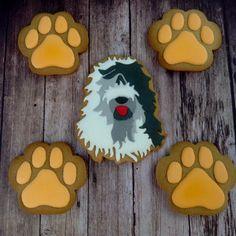 Old English Sheepdog Dog Cookies, Cake Cookies, Sugar Cookies, Pet Dogs, Dog Cat, Pets, Biscuit Cake, Old English Sheepdog, Dog Treat Recipes