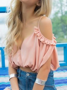 Shop Pink Sweetheart Ruffle Detail V Back Crop Top from choies.com .Free shipping Worldwide.$10.99