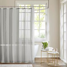 Shop for Madison Park Lydia Sheer Shower Curtain. Get free delivery On EVERYTHING* Overstock - Your Online Shower Curtains & Accessories Store! Get in rewards with Club O! Striped Shower Curtains, Grey Curtains, Colorful Curtains, Fabric Shower Curtains, Colorful Shower Curtain, Pink Showers, Mediterranean Home Decor, Tuscan Decorating, Decorating Ideas