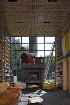 Library in the Creekside Residence, by Bohlin Cywinski Jackson