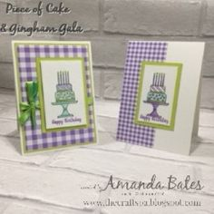 The Craft Spa - Stampin' Up! UK independent demonstrator - Order Stampin Up in UK: Piece of Cake & Gingham Gala Birthday Cake Card, Green Ribbon, Piece Of Cakes, Stampin Up Cards, Color Combos, Gingham, Diy And Crafts, Card Making, Spa