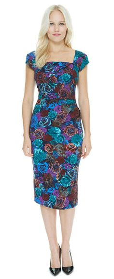 The contemporary 3D print of our Cara Aspen Pencil Dress, comprising of Indian teal, deep cobalt and purple hues make this design one of our most eye-catching! #fashion #style #print #pattern #floral #florals #3D #teal #cobalt #purple #elegant #chic #theprettydress #theprettydresscompany