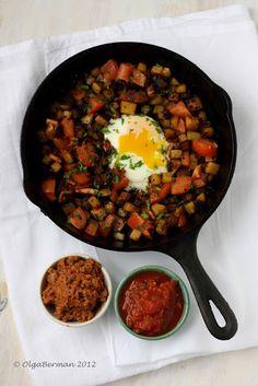 Chorizo, Potato & An Egg in a Cast Iron Skillet More