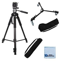 Introducing 72Inch Elite Series Full Size Camcorder Tripod  Elite Series Professional Universal Tripod Dolly w One Step Easy Lock  Locking Wheels for Canon EOS C300 C500 4K Cinema Camera XA10 HD Professional XA20 HD Canon XA25 Professional HD XF100 HD Professional XF105 HD Professional XF300 Professional Camcorder Canon XF305 Professional Camcorder XHA1s 3CCD HDV Camcorder XHG1 3CCD HDV Camcorder XHG1s 3CCD HDV Camcorder XL2 13Inch 3CCD Camcorder  2 Carrying Case  Microfiber Cloth. Great…