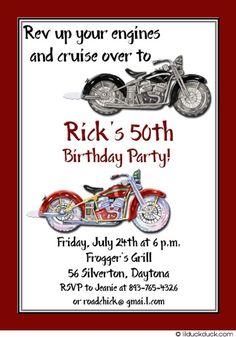 Motorbike Birthday Invitation, Red & White Motorcycles Party