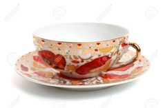 Beautiful Antique Tea Cup, Isolated On White Stock Photo, Picture ...