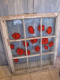 more poppies on window Old Window Panes, Window Art, Window Frames, Painted Window Panes, Window Ideas, Vintage Windows, Old Windows, Old Window Projects, Diy Projects