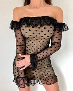 Polka Dot Off Shoulder Frill Bell Cuff Bodycon Dress trendiest dresses for any occasions, including wedding gowns, special event dresses, accessories and women clothing. Sexy Dresses, Casual Dresses For Women, Short Dresses, Ladies Dresses, Sleeve Dresses, Event Dresses, Dress Casual, Dress Long, Vestido Dot